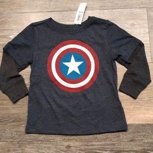 🔥NWT Captain America Long Sleeve Tee